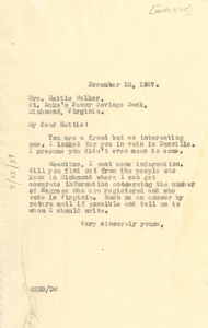Letter from W. E. B. Du Bois to Hattie N. F. Walker