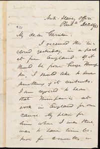 Letter from James Miller M'Kim, Phil[adelphi]a, [Pa.], to William Lloyd Garrison, Dec[ember] 16 / [18]53