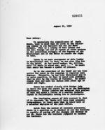Letter: to Aubrey Williams, 1959 August 21