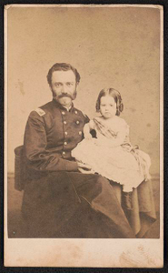 [Brigadier General Robert M. West of Battery G, 1st Pennsylvania Light Artillery Battery and 5th Pennsylvania Cavalry Regiment in uniform, with his daughter on his lap]