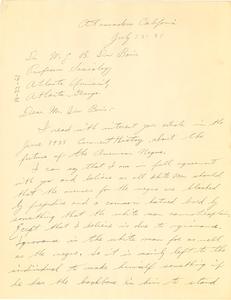 Letter from John Koning to W. E. B. Du Bois