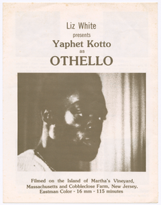Program for Liz White's presentation of Othello