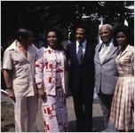 """Coretta Scott King and UN Ambassador Andrew Young visit the se of the mini-series """"King,"""" 1977"""