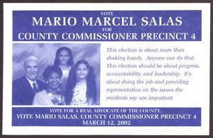 [Mario Marcel Salas Card Advertising Election Bid] Mario Marcel Salas Papers