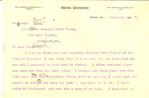 Letter from W. E. B. Du Bois to Joseph Booth