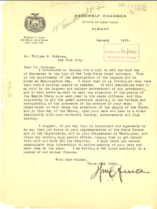 Letter from Assembly Chamber State of New York to W. E. B. Du Bois