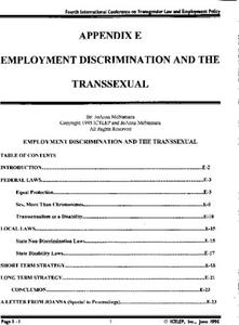 Appendix E: Employment Discrimination and the Transsexual
