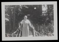 Grace Nail Johnson crossing bridge across Seekonk River from cabin towards home, Five Acres Gr. Barrington, Mass.