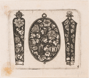 """""""Oblong Fillet Flanked by Two Needle Cases (?),"""" Plate 5 from """"Goldsmith Ornament Designs"""""""