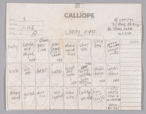 "Track sheet used during the recording of ""Ladies First"" by Queen Latifah"