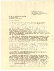 Letter from Longfellow House to W. E. B. Du Bois