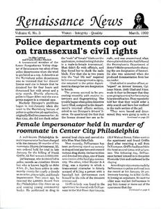Renaissance News, Vol. 6 No. 3 (March 1992)