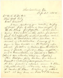 Letter from E. Dickerson to W. E. B. Du Bois