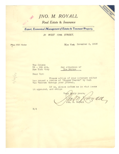 Letter from John M. Royall to Editor of the Crisis