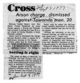 Newspaper article - Charges Dismissed in Arson Case