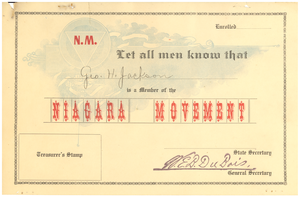 Niagara Movement certificate of membership