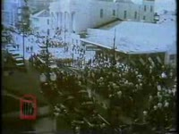 WSB-TV newsfilm clip of white demonstrators protesting court-ordered school desegregation City and state officials urging parents to discourage their children from demonstrating People injured by the demonstrating mob in the hospital And debates by state legislators, New Orleans and Baton Rouge, Louisiana, 1960 November 16