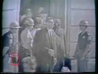 WSB-TV newsfilm clip of African American students Vivian Malone and James Hood after registering for classes at the formerly segregated University of Alabama, Tuscaloosa, Alabama, 1963 June 11
