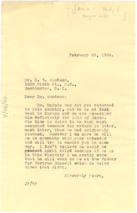 Letter from Jessie Fauset to Carter G. Woodson