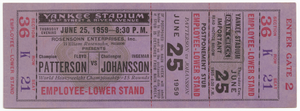 Ticket to a boxing match between Floyd Patterson and Ingemar Johansson