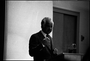 Portrait of Edwin D. Driver, lecturing