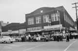African Americans in front of Snellgrove Drug Company in Gadsden, Alabama, during a civil rights demonstration.