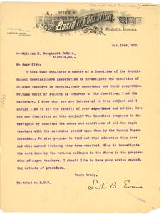 Letter from Lawton B. Evans to W. E. B. Du Bois