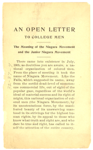 Thumbnail for Open letter to college men: the meaning of the Niagara Movement and the junior Niagara Movement
