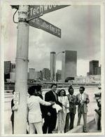 Roads and Highways, Mayor Maynard Jackson Oversees the Unveiling of Martin Luther King Jr. Drive Street Sign, June 3, 1976