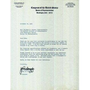 Letter from Congressman John Conyers, Jr. to Reverend Michael E. Haynes
