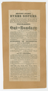 "Broadside for the musical drama ""Out of Bondage"""