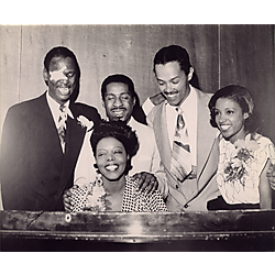 "Earl Fatha"" Hines with eye patch, Erroll Garner, Billy Eckstine, Maxine Sullivan, and Mary Lou Williams at the piano"""