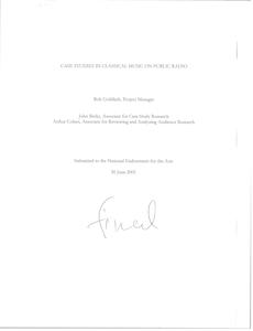 Case studies in classical music on public radio