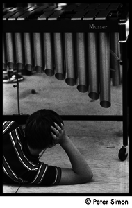 Boy looking up at a vibraphone at Jackie Robinson's summer jazz concert