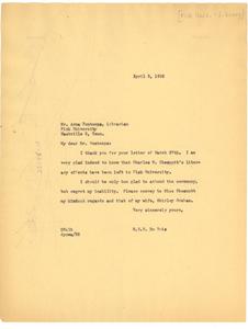 Letter from W. E. B. Du Bois to Fisk University Library