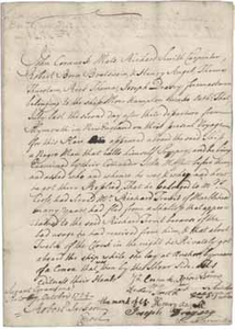 Deposition of John Cornuck and others regarding Pompey (a runaway slave), 7 October 1724