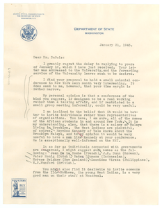 Letter from Ralph J. Bunche to W. E. B. Du Bois