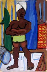 Standing Man with White Turban and Green Shorts