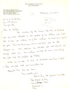 Letter from Women's City Club of Cleveland to W. E. B. Du Bois