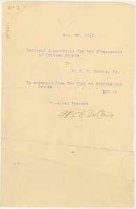 NAACP Receipt for Travel Expenses