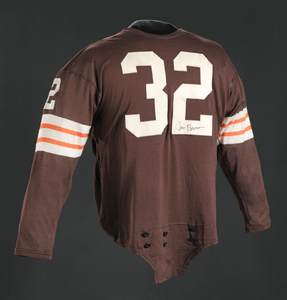 Jersey for the Cleveland Browns worn and signed by Jim Brown