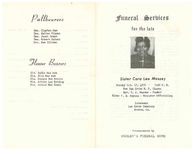Funeral services for the late Sister Cora Lee Massey, Sunday, October 17, 1976- 2:00 p.m., New Oak Grove M.P. Church, Boston, Georgia, Rev. T.J. Haynes- pastor, Elder P.E. Haynes- minister officiating