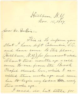 Letter from Byron Gunner to W. E. B. Du Bois