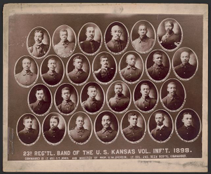 23d reg'tl. band of the U.S. Kansas Vol. Inf't. 1898 Commanded by Lt. Adj. S.T. Jones and directed by Prof. G.W. Jackson, Lt. Col. Jas. Beck reg'tl. commander.