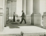 Dave Mack McGlathery entering a building at the University of Alabama in Huntsville, on the day he enrolled as the first African American student at the school.
