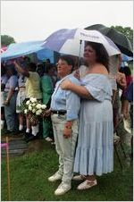 Partners Cheryl Summerville and Sandra Riley at a gay-lesbian commitment ceremony in Piedmont Park, Atlanta, Georgia, June 22, 1991
