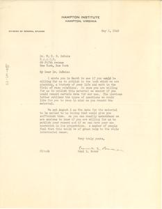 Letter from Paul E. Baker to W. E. B. Du Bois