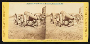 Captured siege guns, at Rocketts, Richmond, Va