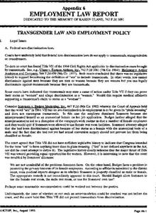 Appendix 6: Employment Law Report