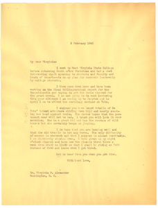 Letter from W. E. B. Du Bois to Virginia Alexander